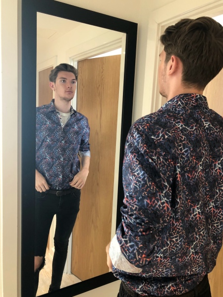 Me Wearing the Cracked Paisley Shirt in Dark