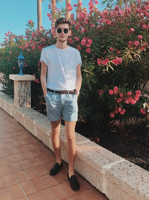 Outfit 3: Tommy Hilfiger Tee, Topman Chino Shorts, Next Brown Loafers