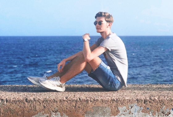 Outfit 4: Grey Levi's Tee, Ripped Denim Shorts, Bershka Trainers