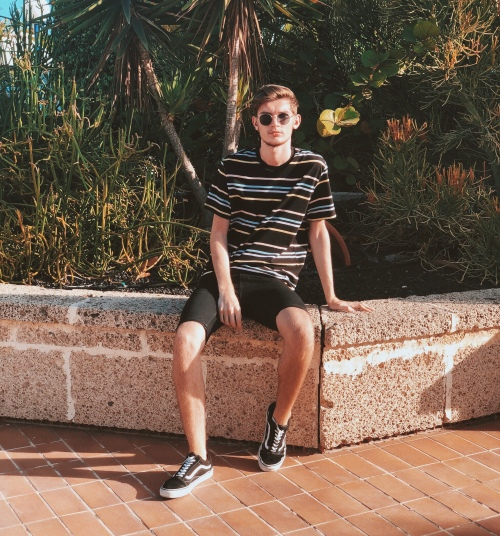 Outfit 5: Stiped Tee and Skinny Black Denim Shorts from Topman, paired with Old Skool Vans