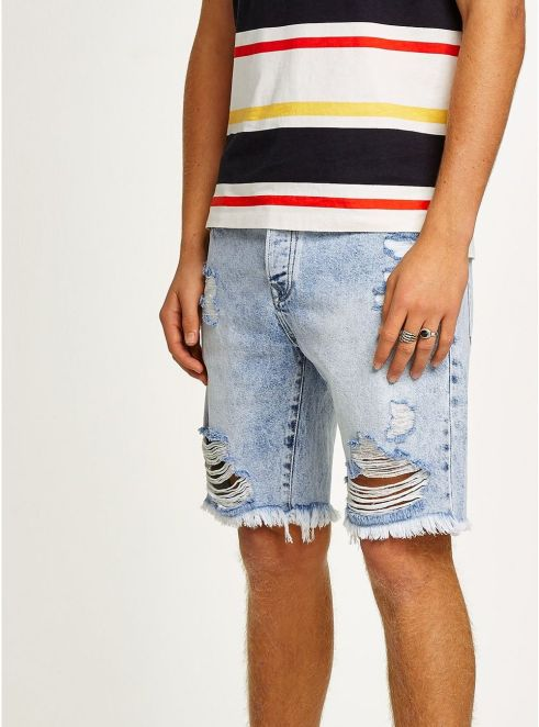 Light Blue Slim Fit Ripped Denim Shorts - © Topman