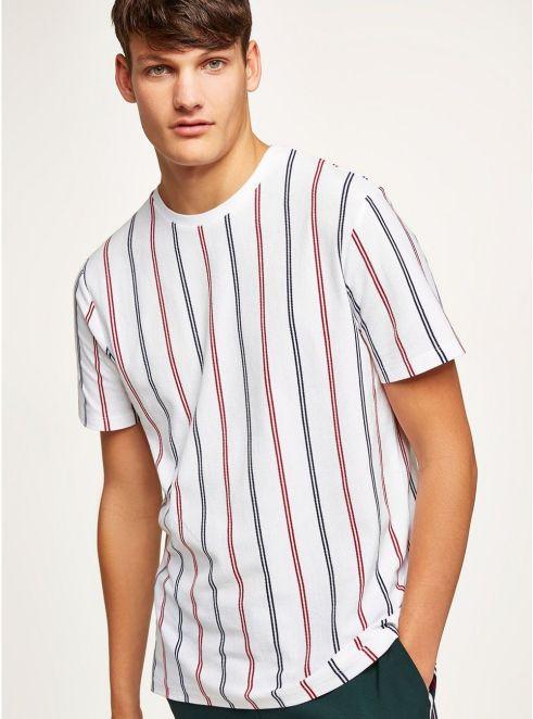 White Stripe Pique T-Shirt - © Topman