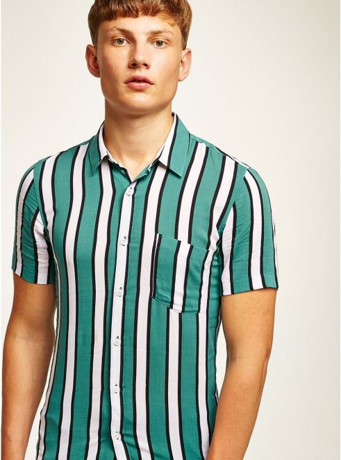 Teal And White Stripe Muscle Short Sleeve Shirt - © Topman