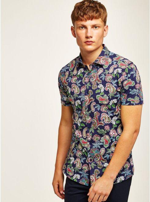 Blue Paisley Rose Short Sleeve Shirt - © Topman
