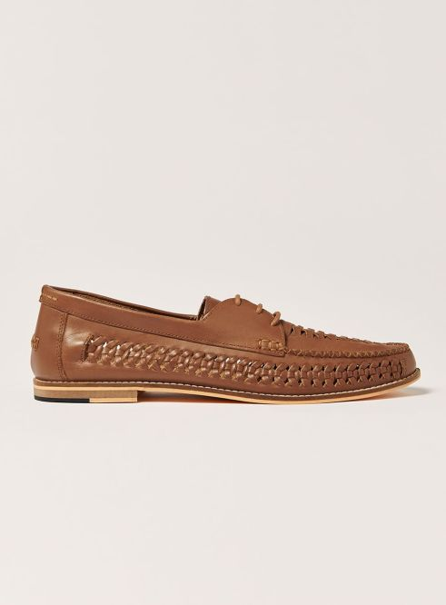 Tan Leather Weave Mantis Lace Shoes - © Topman